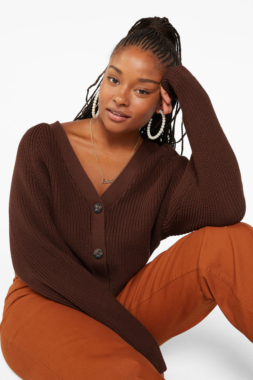 Model front image of Monki ribbed cardigan in beige