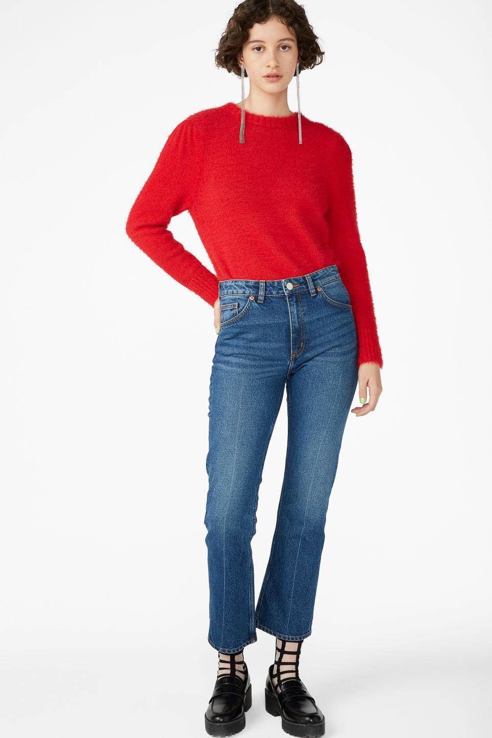 Model side image of Monki soft knit sweater in red