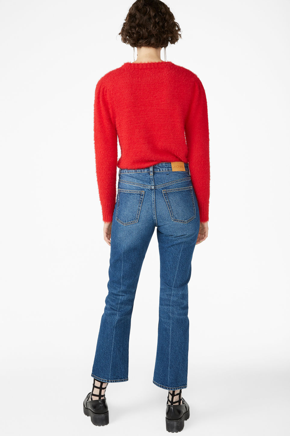 Model back image of Monki soft knit sweater in red