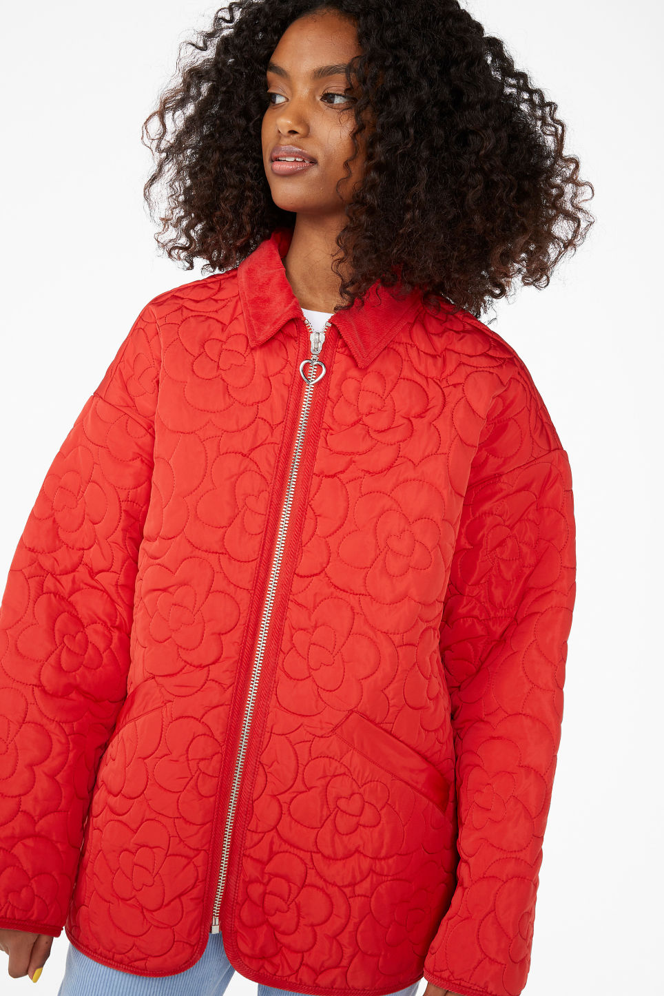 Model front image of Monki quilted jacket in red