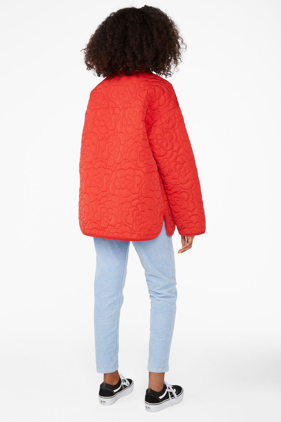 Model back image of Monki quilted jacket in red