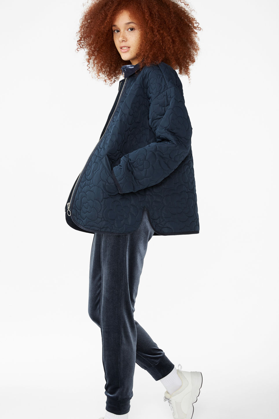 Model front image of Monki quilted jacket in blue