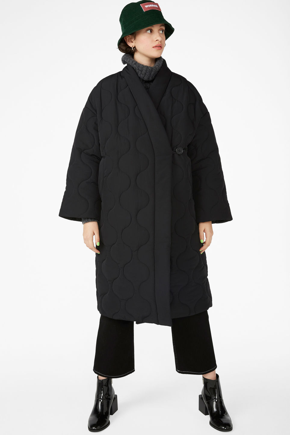 Model front image of Monki kimono style coat in black