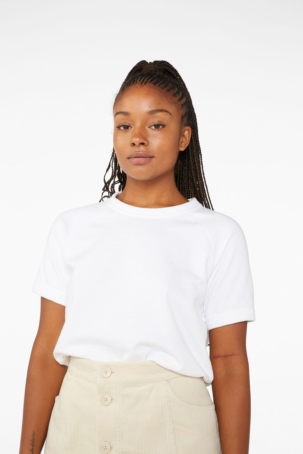 Model front image of Monki short sleeved sweatshirt in white