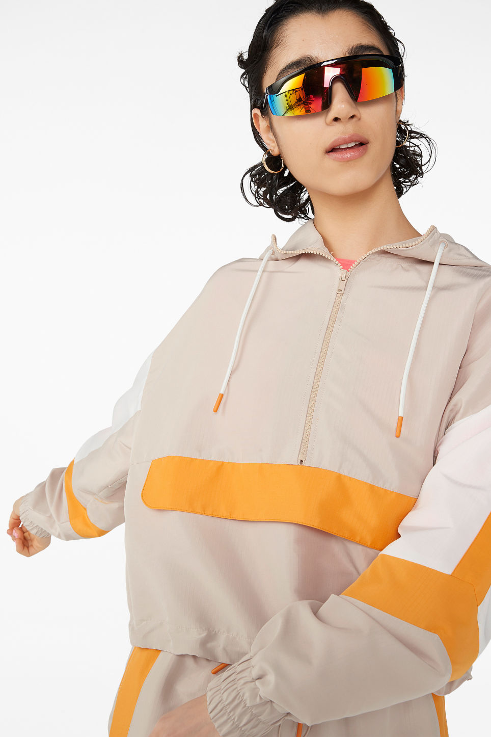 Model front image of Monki anorak  in beige