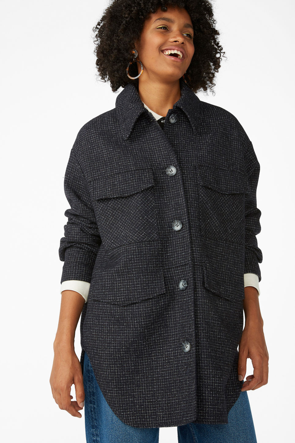 Model front image of Monki utility jacket in blue
