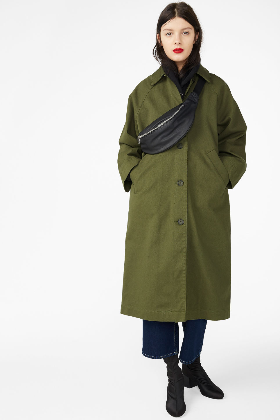 Model front image of Monki utility raglan coat in green