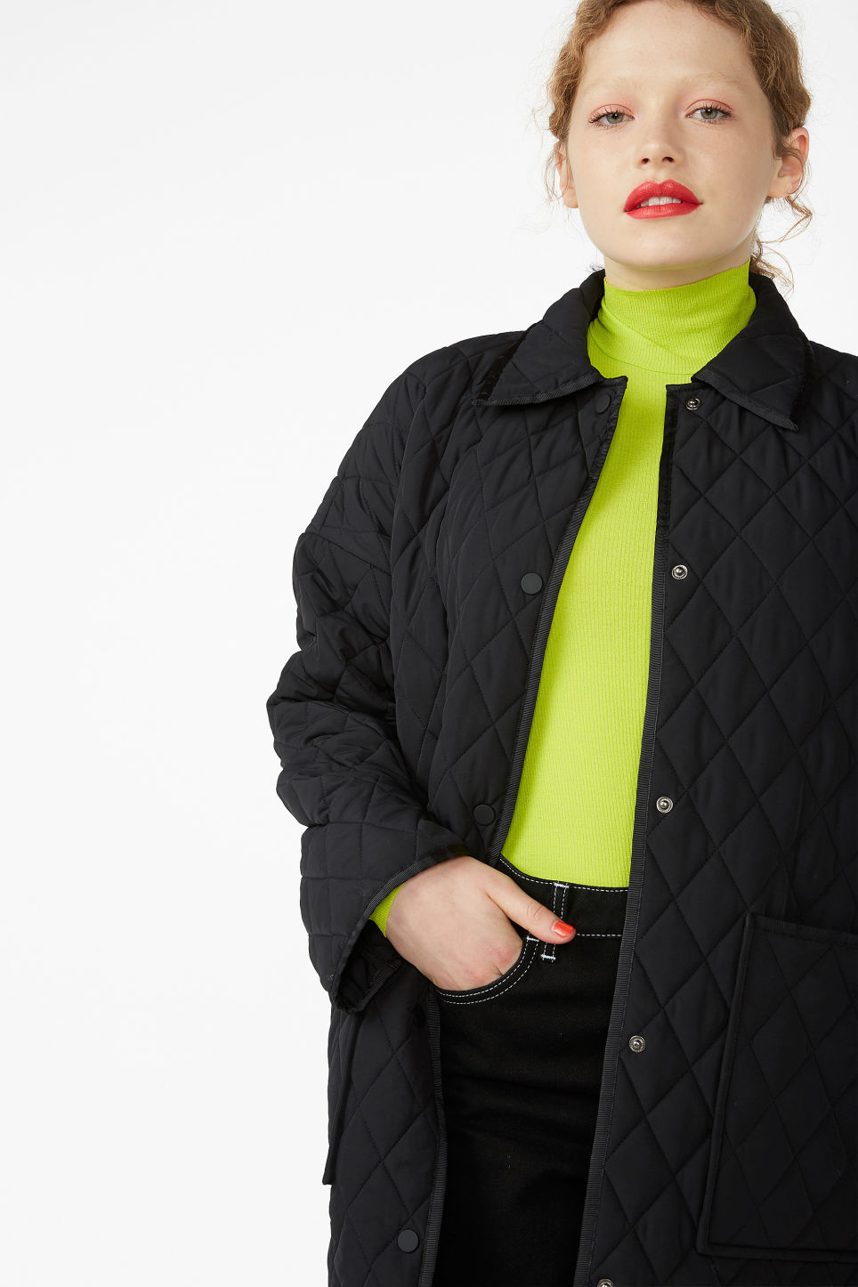 Model front image of Monki quilted long jacket in black