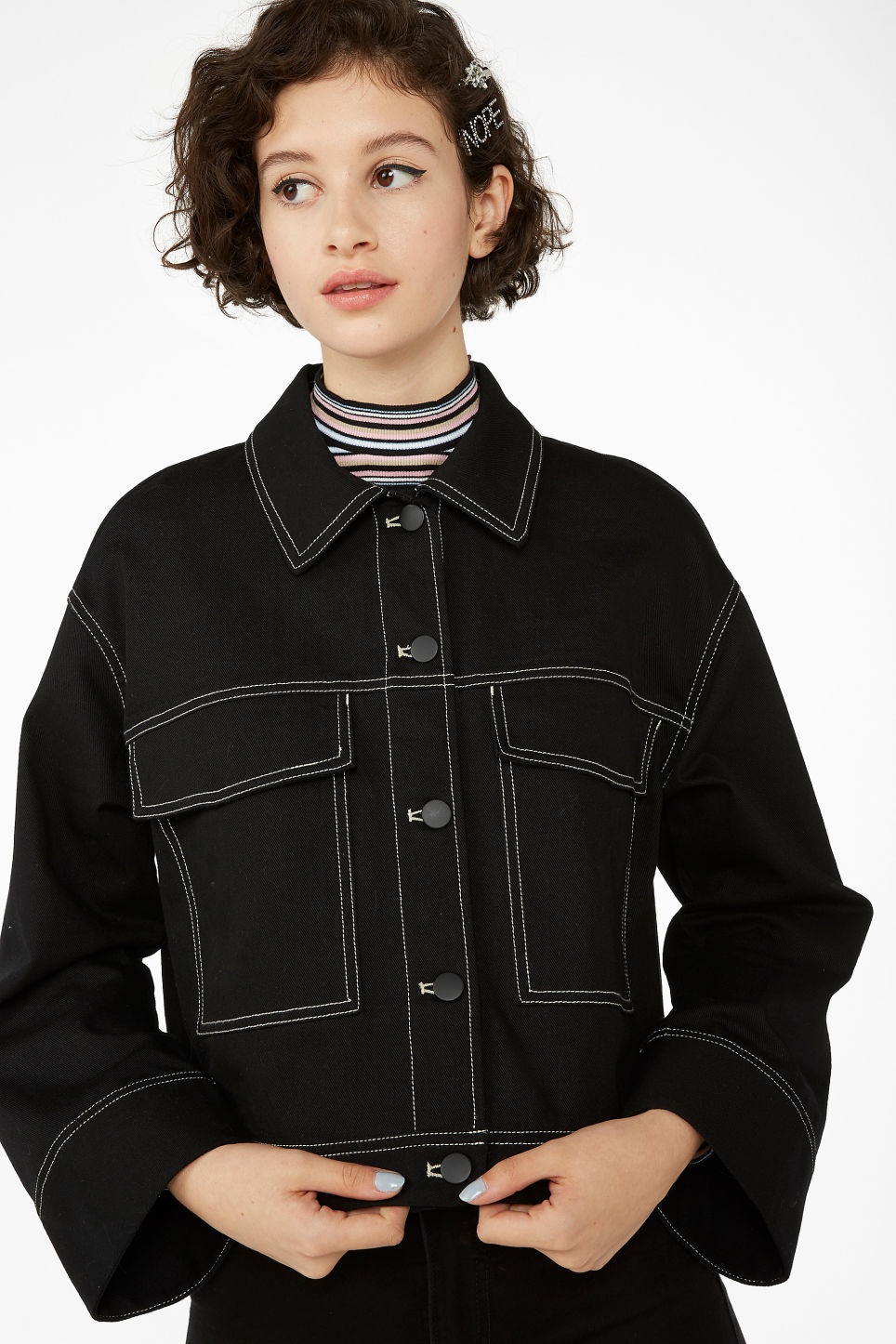 Model front image of Monki cropped contrast stitch jacket in black