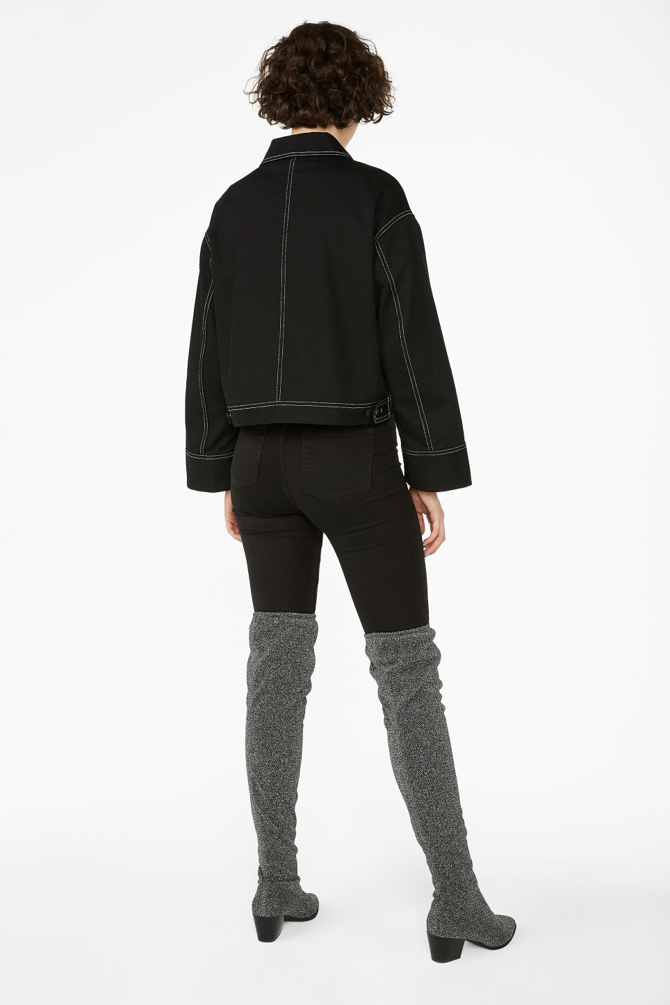 Model back image of Monki cropped contrast stitch jacket in black