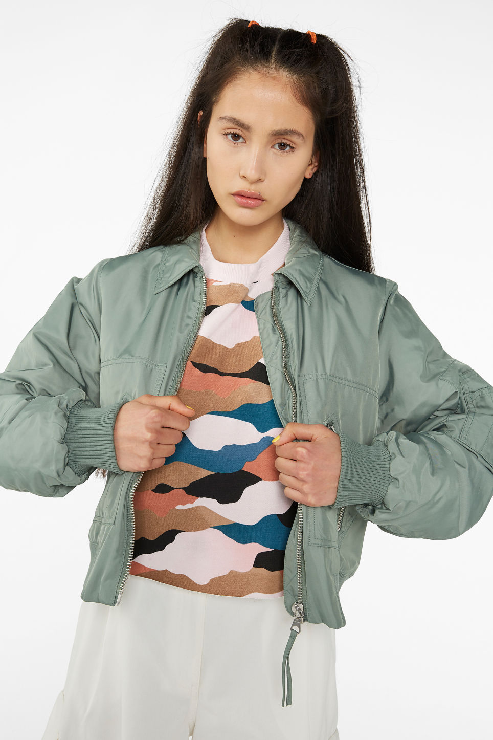 Model front image of Monki boxy utility jacket in green