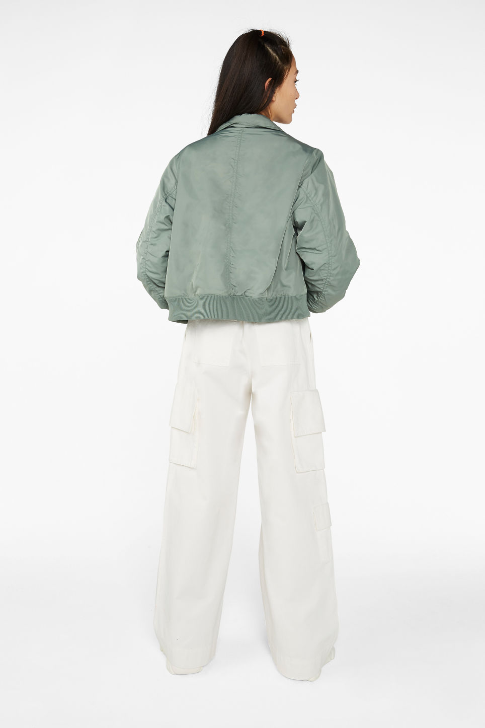 Model back image of Monki boxy utility jacket in green