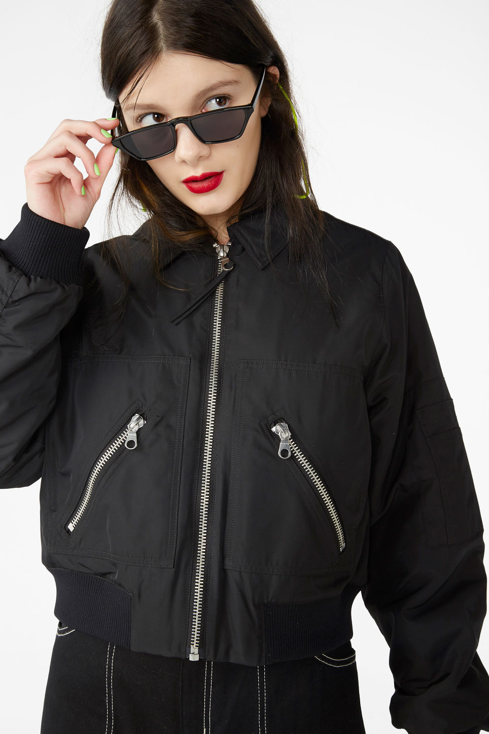 Model front image of Monki boxy utility jacket in black