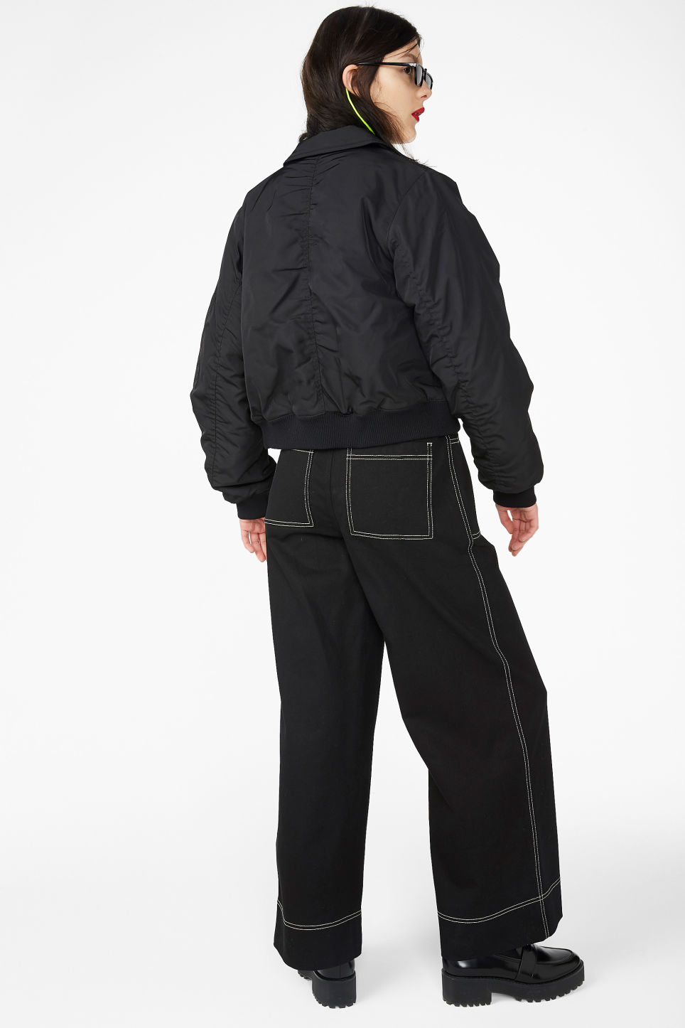 Model back image of Monki boxy utility jacket in black