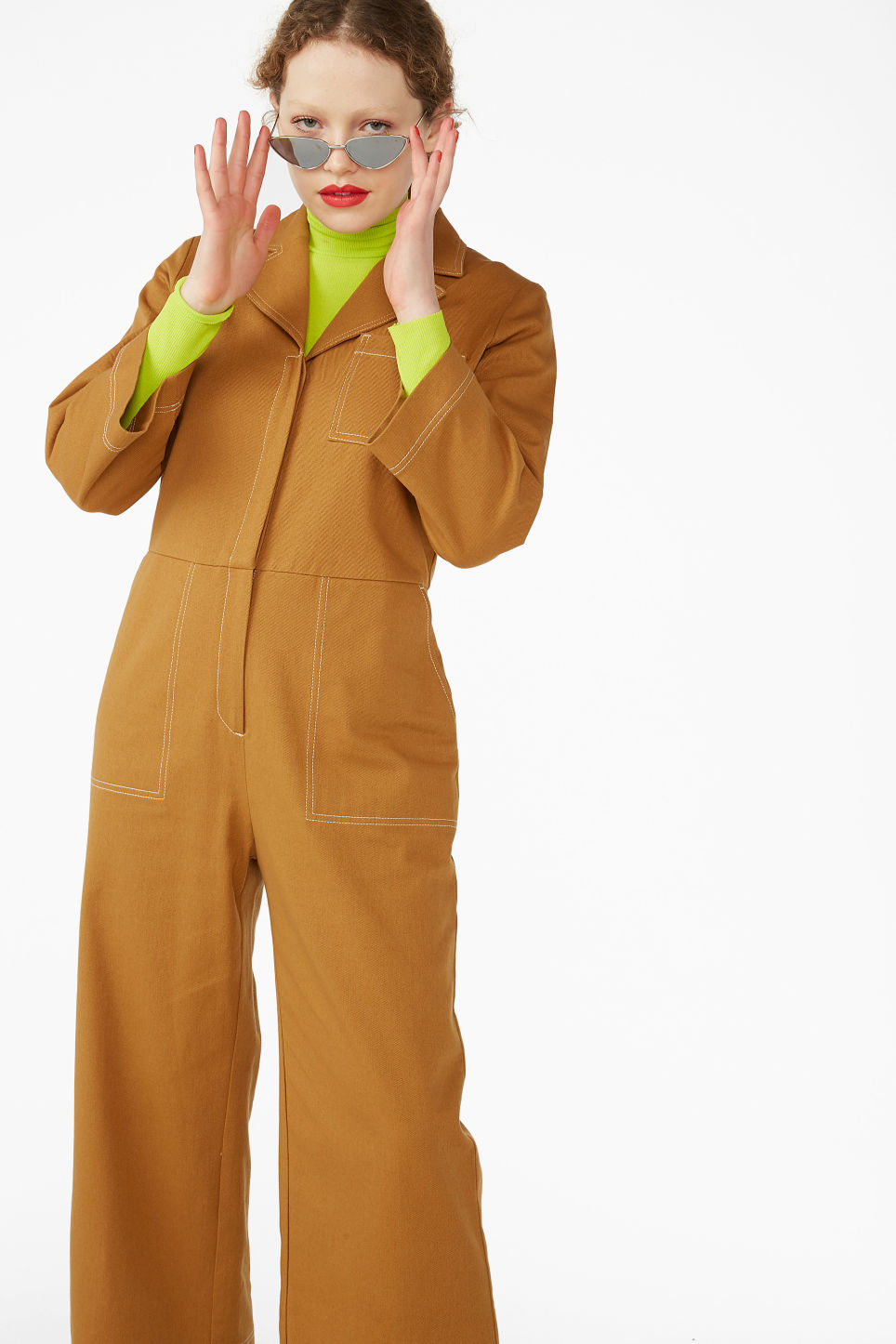 20ca18a288 Model front image of Monki utility boiler suit in yellow
