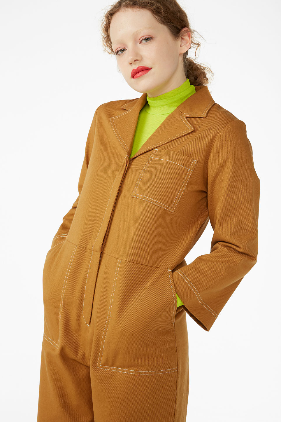 Model front image of Monki utility boiler suit in yellow
