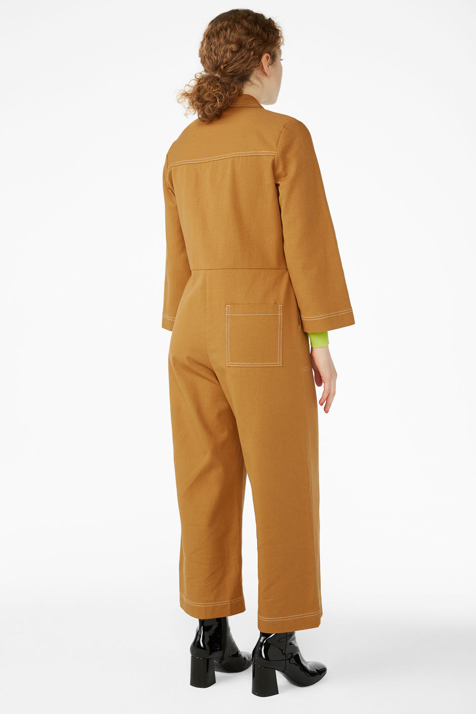 Model back image of Monki utility boiler suit in yellow