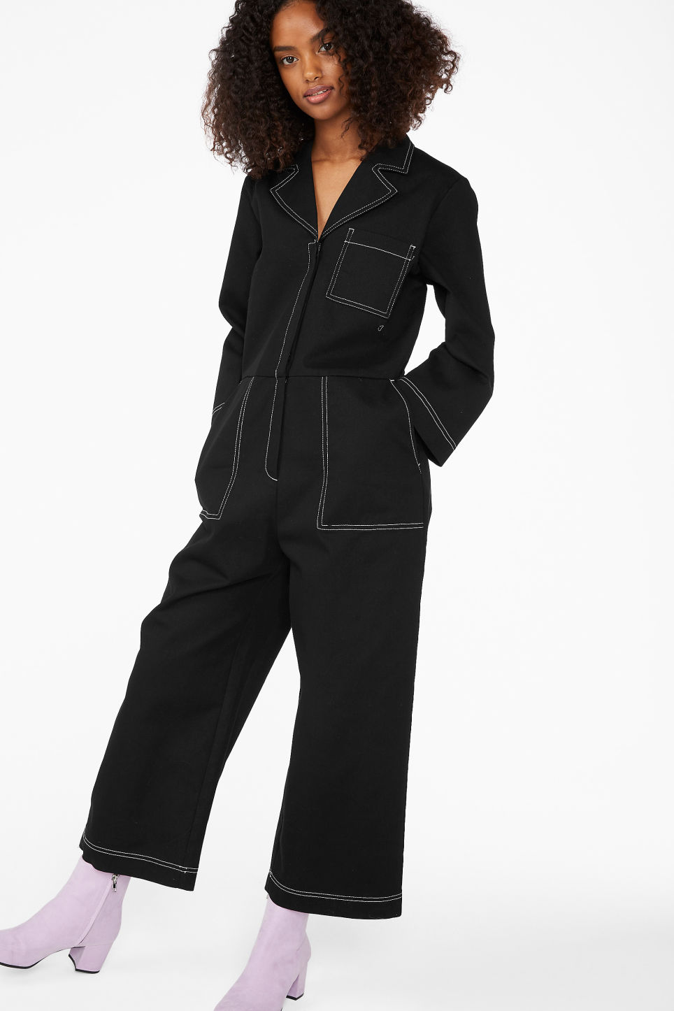 2c18a0f8791b Model front image of Monki utility boiler suit in black
