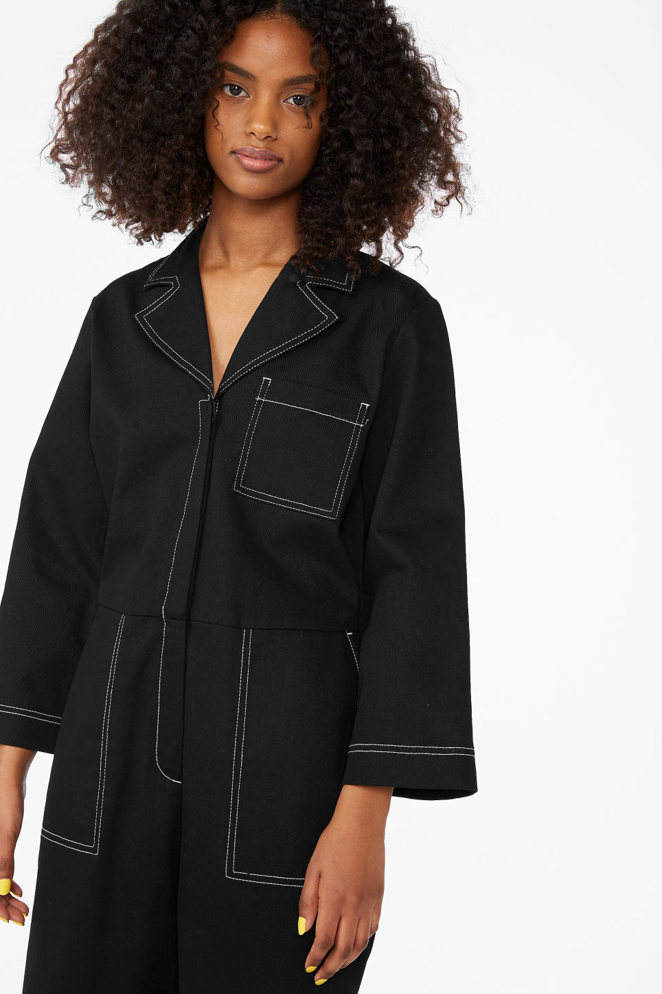 Model front image of Monki utility boiler suit in black
