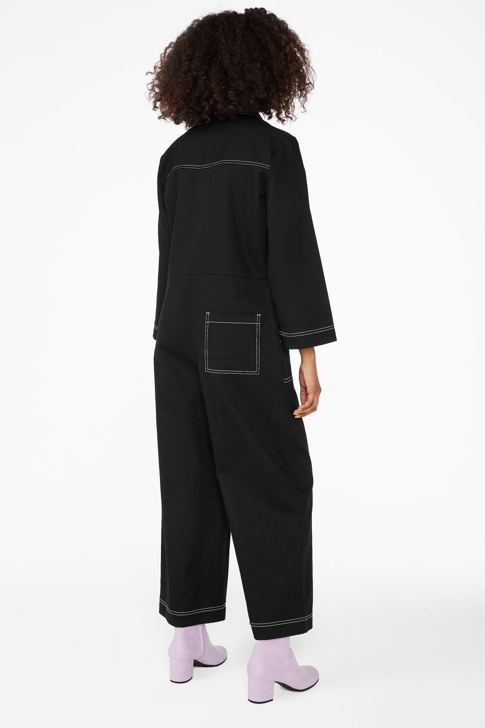 Model back image of Monki utility boiler suit in black