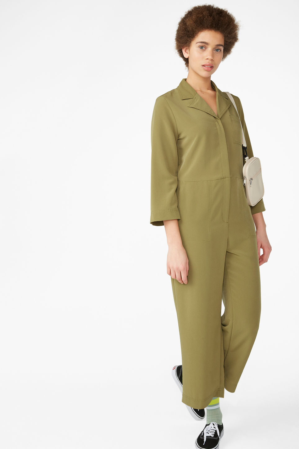 1c1a75a1af Model front image of Monki utility boiler suit in beige