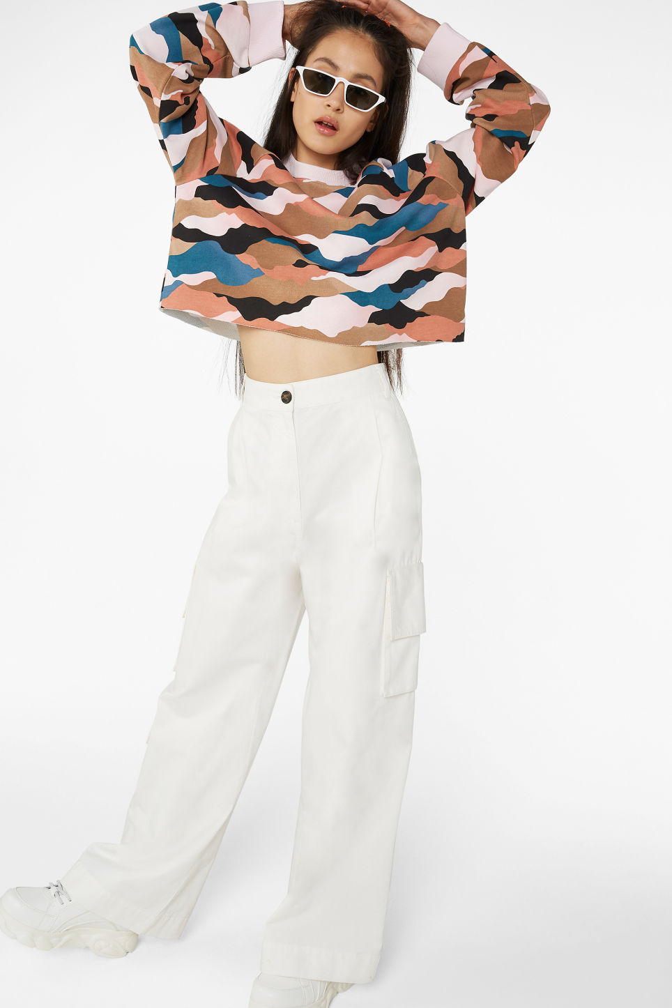 Model front image of Monki wide leg utility trousers in white