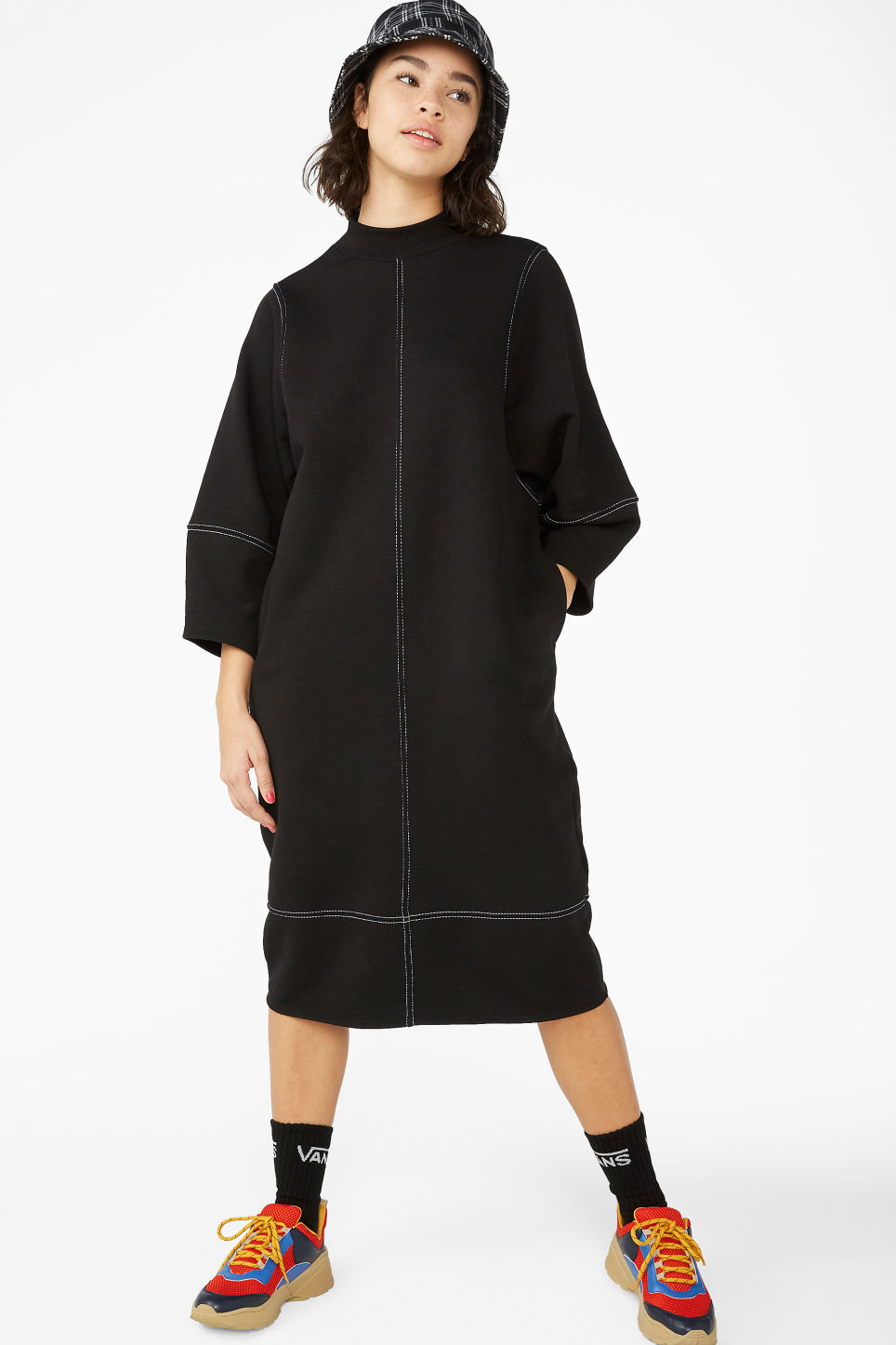 d9adaed39f Contrast stitch sweater dress - Black magic - Dresses - Monki