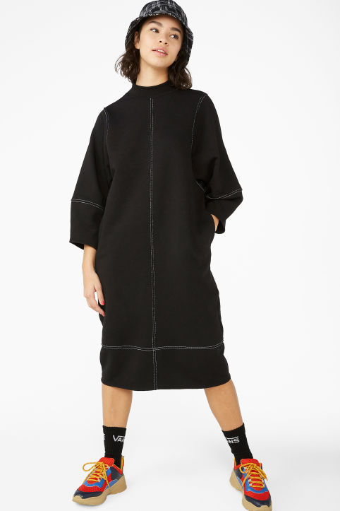4ae4cabd9030 Contrast stitch sweater dress ...