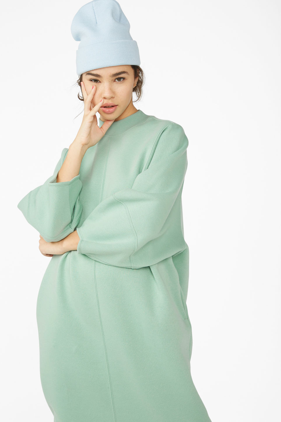 Model front image of Monki sweater dress in green