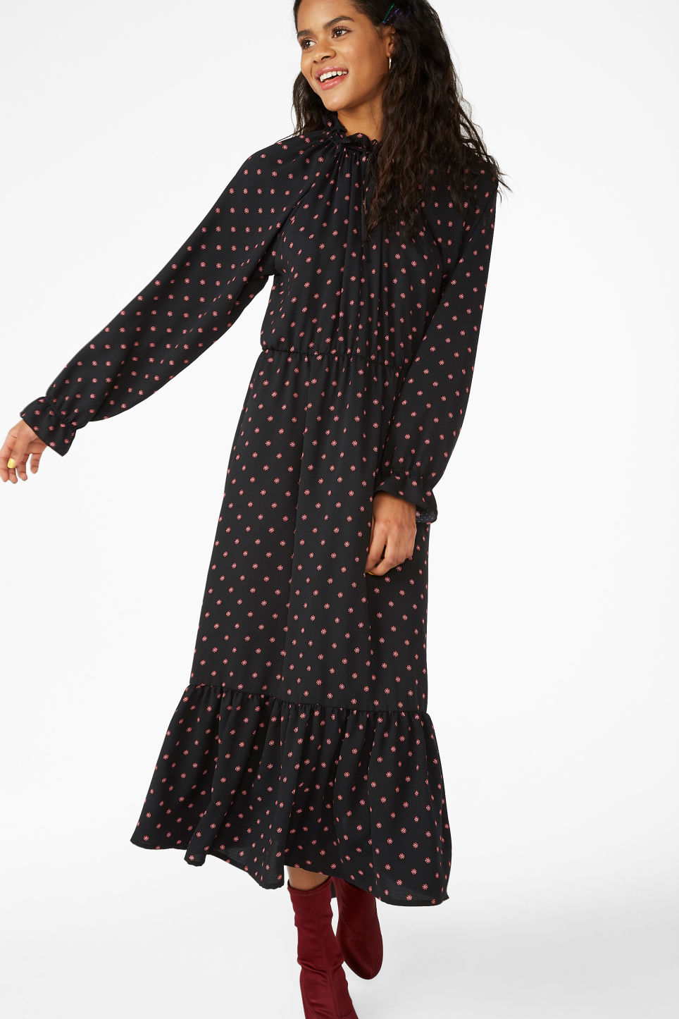 Model front image of Monki frill hem dress in black
