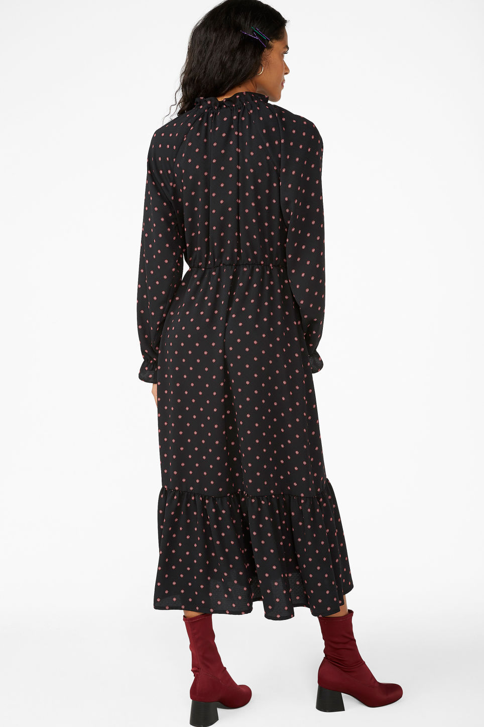 Model back image of Monki frill hem dress in black