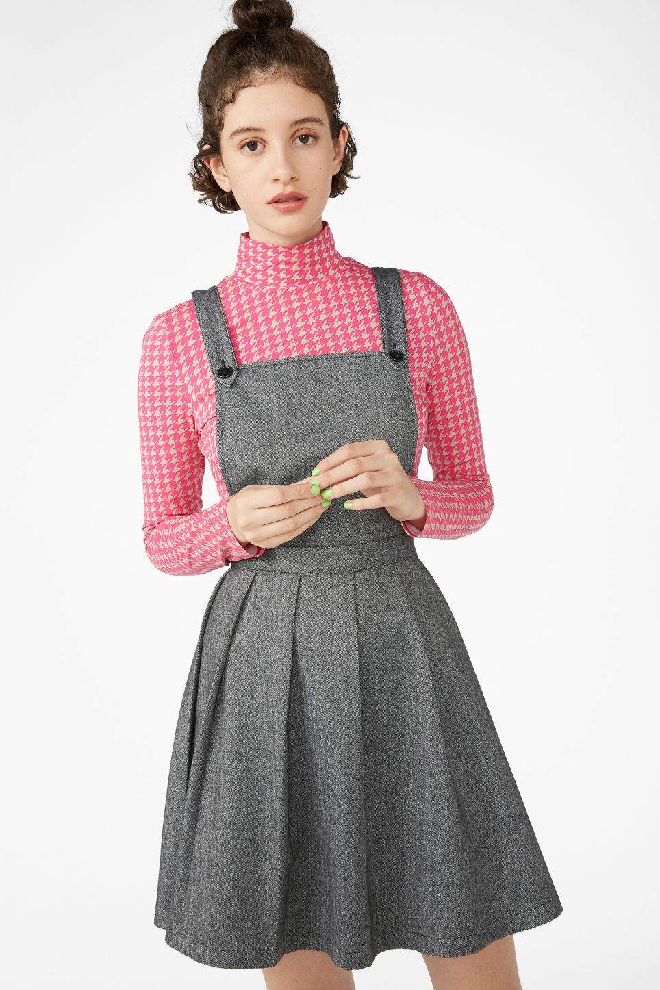 Model front image of Monki pleated dungaree dress in grey