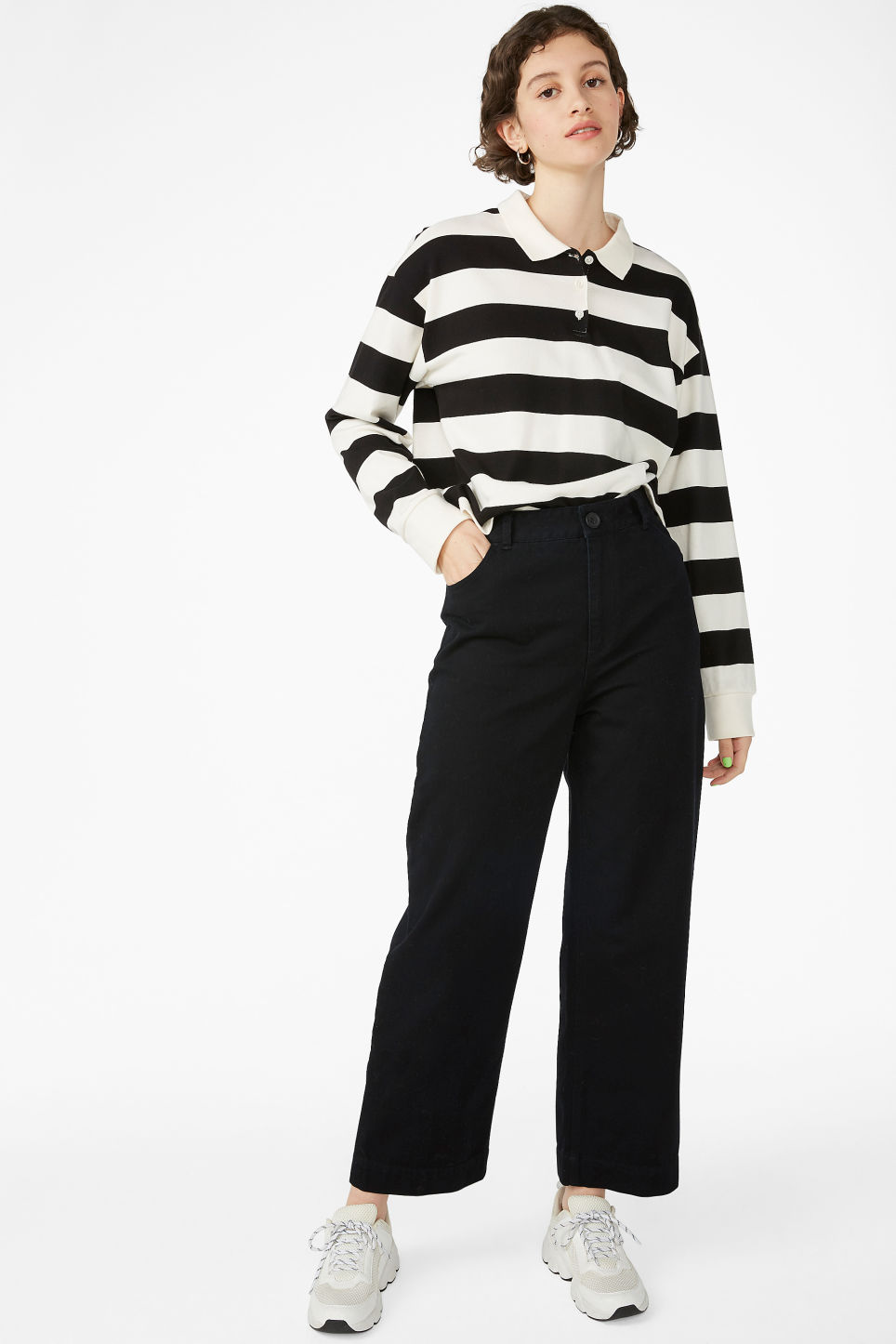 Model front image of Monki wide leg twill trousers in black