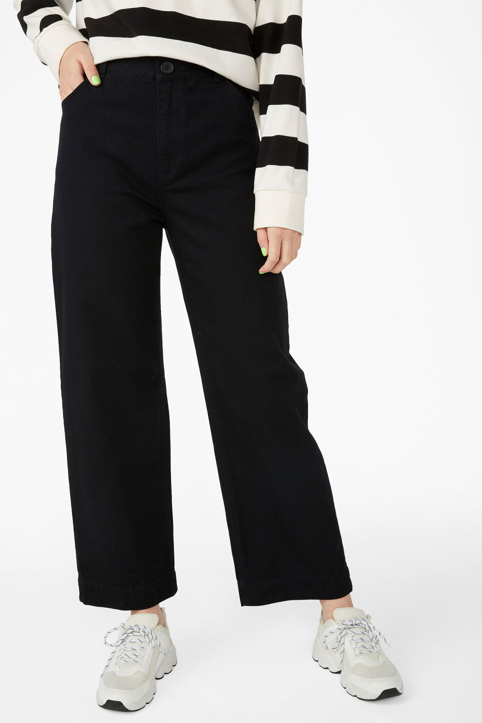 Model side image of Monki wide leg twill trousers in black