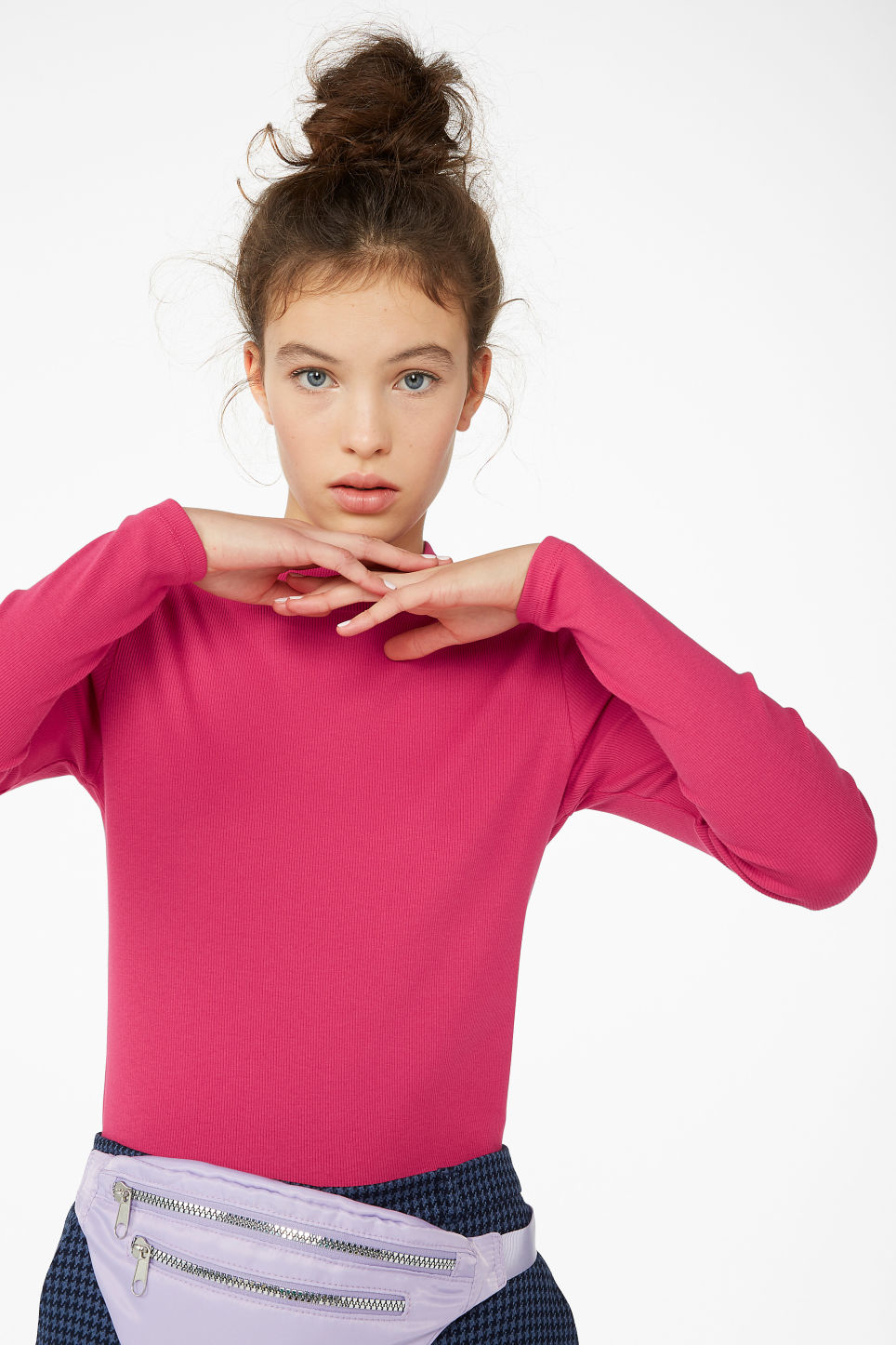 Model front image of Monki long-sleeved low turtleneck top in pink