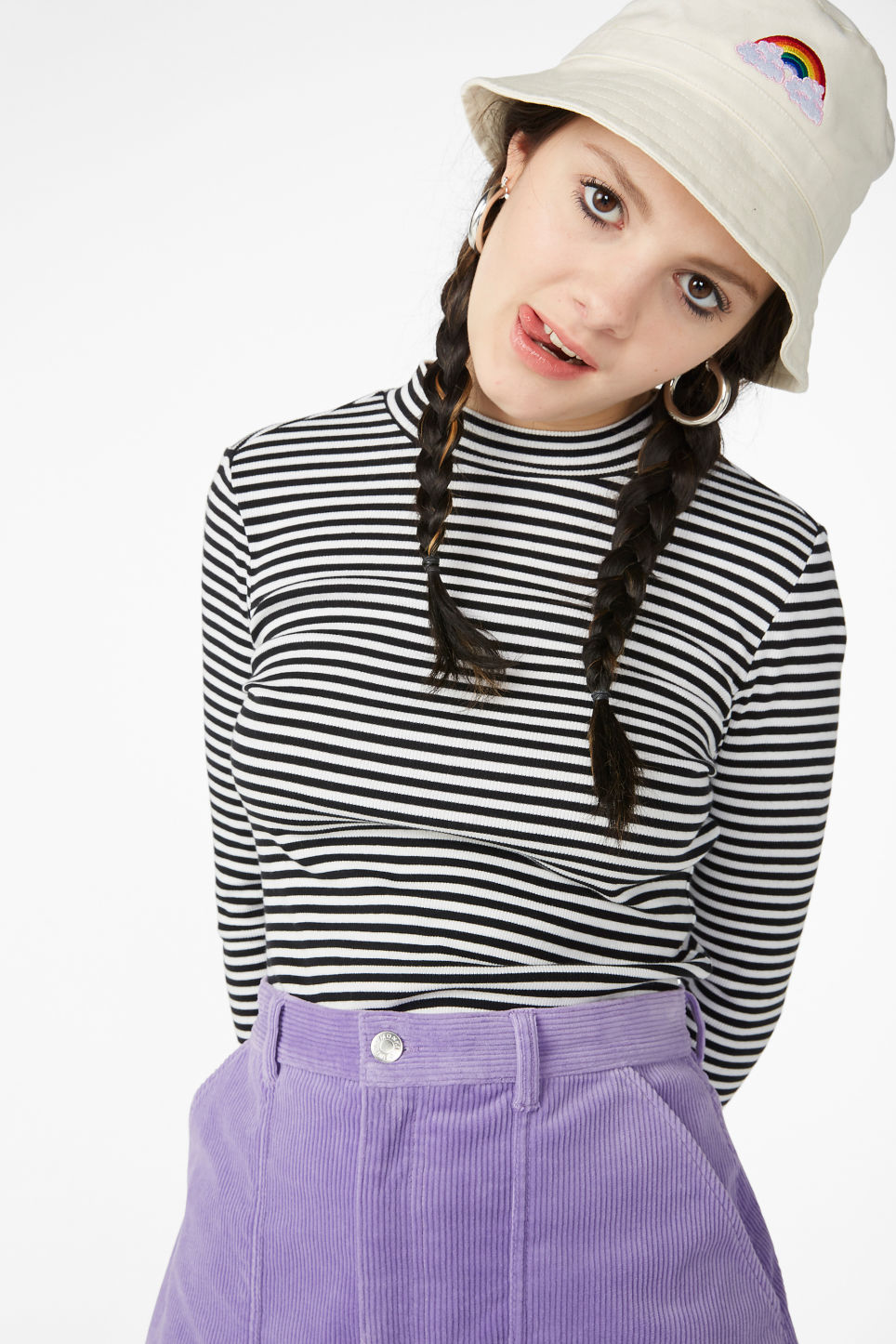 Model front image of Monki long-sleeved low turtleneck top in blue