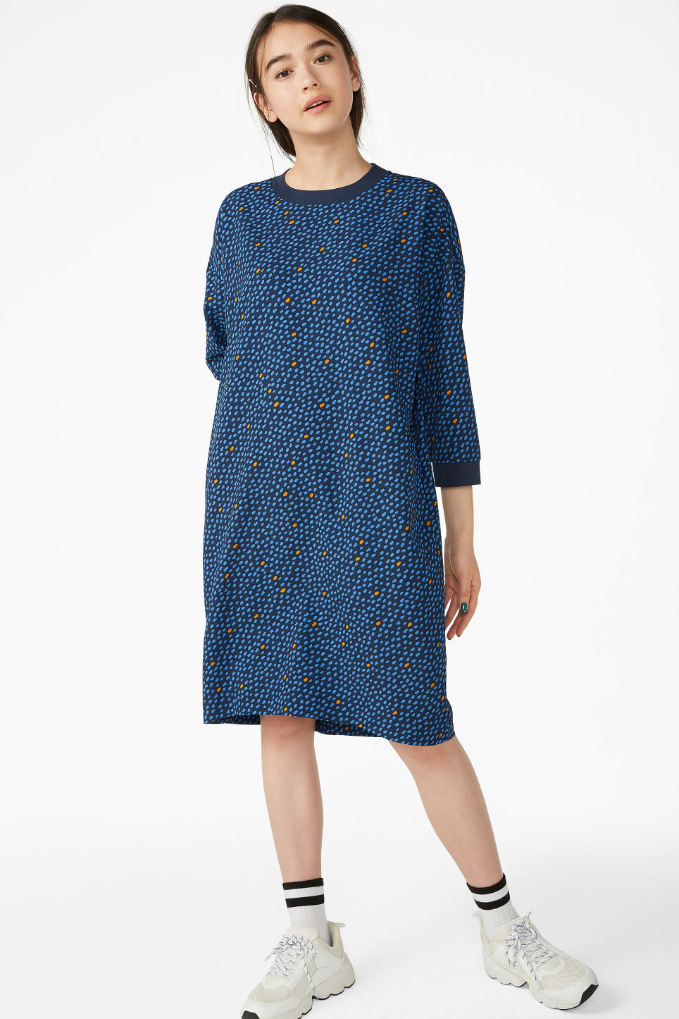 Model front image of Monki sheer crepe dress in blue