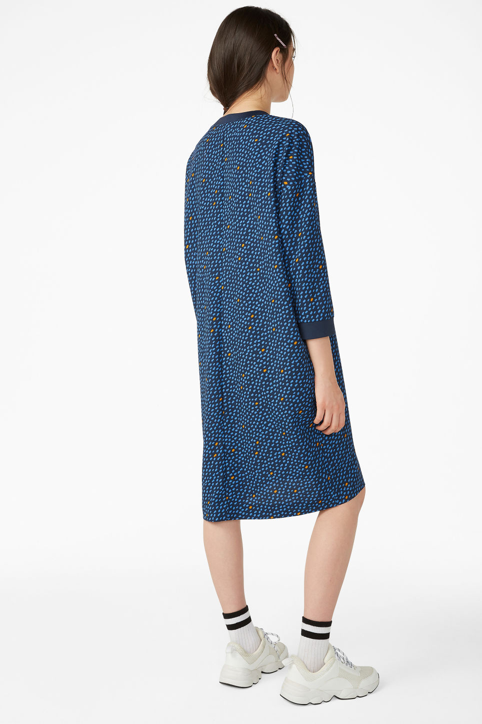 Model back image of Monki sheer crepe dress in blue