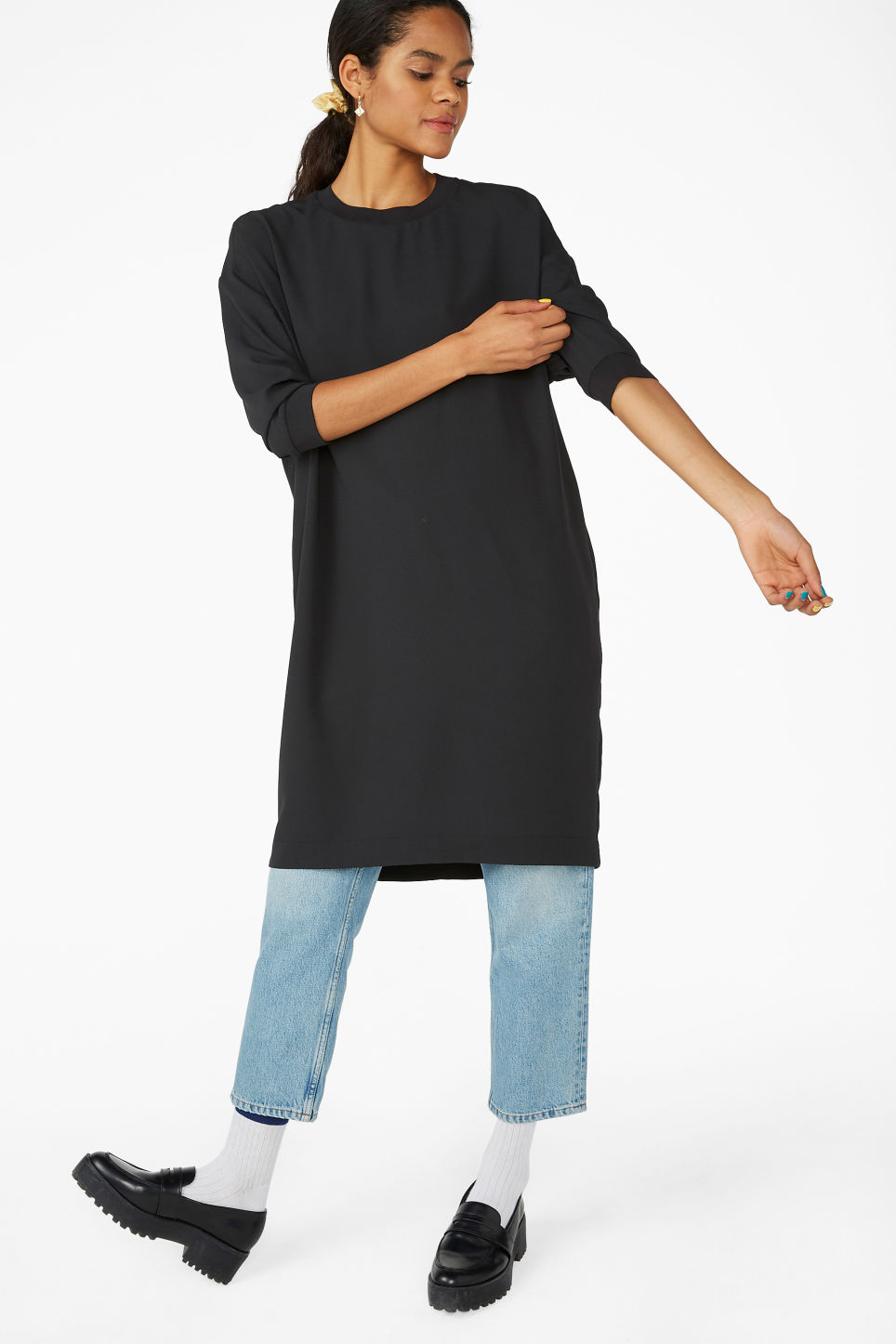 Model front image of Monki sheer crepe dress in black