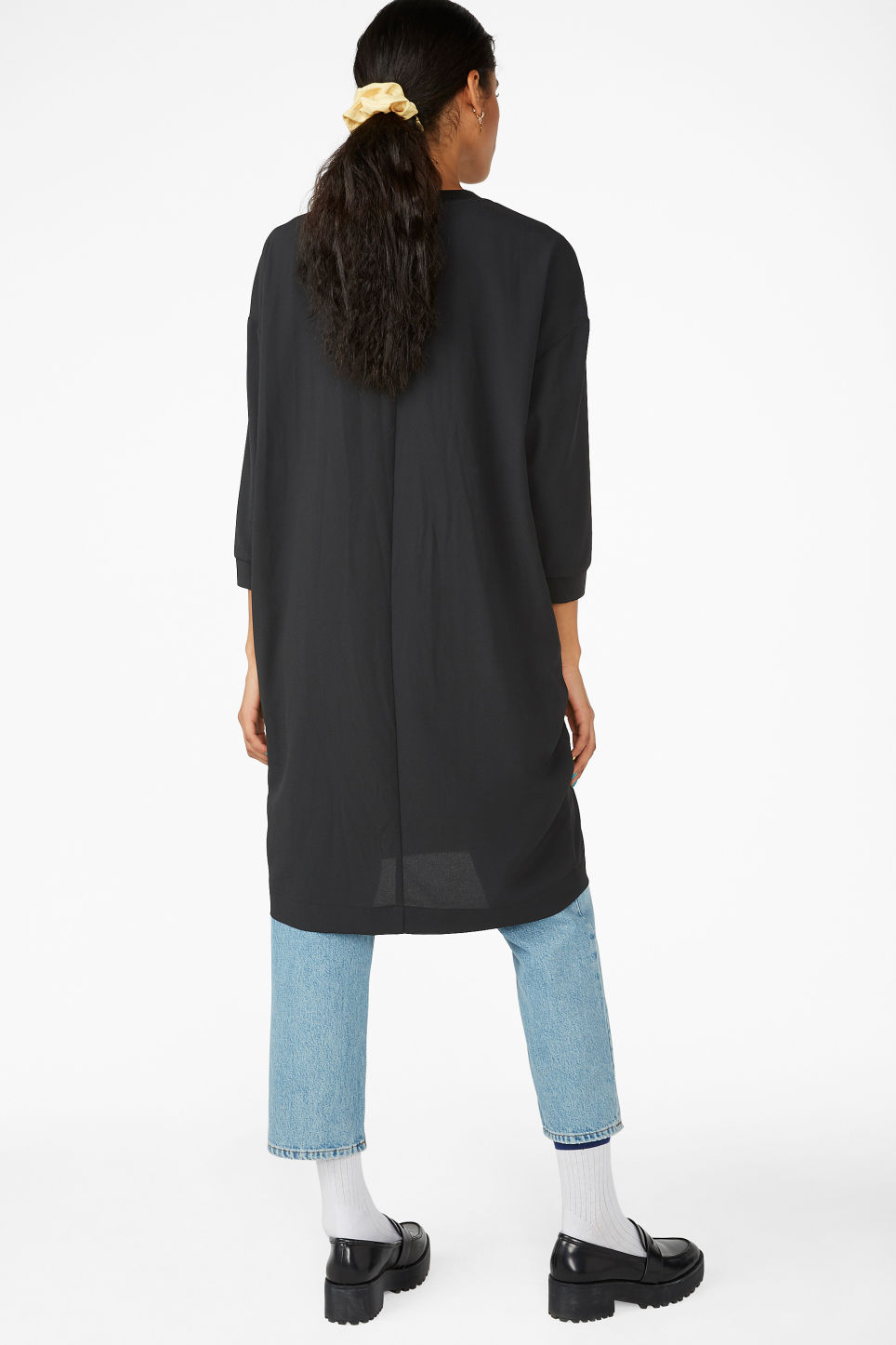 Model back image of Monki sheer crepe dress in black