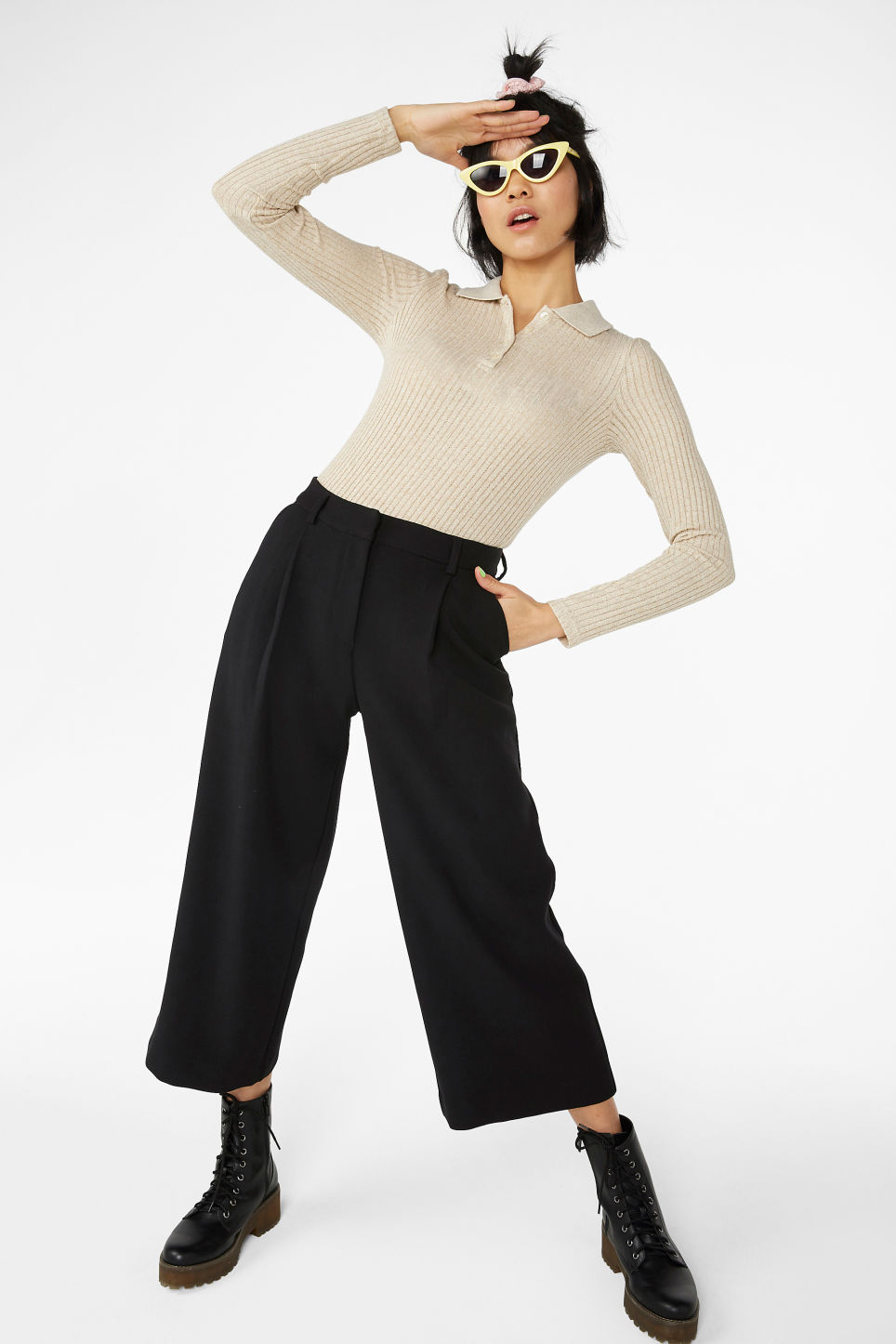 Model front image of Monki ribbed long-sleeved top in white
