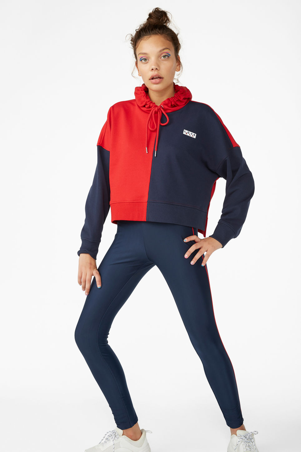 Model front image of Monki sporty leggings in blue