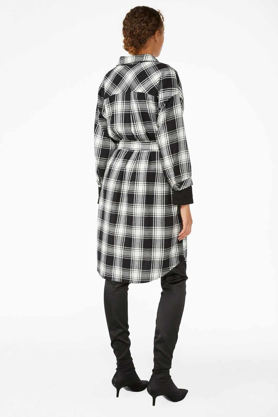 Model back image of Monki flannel shirt dress in black