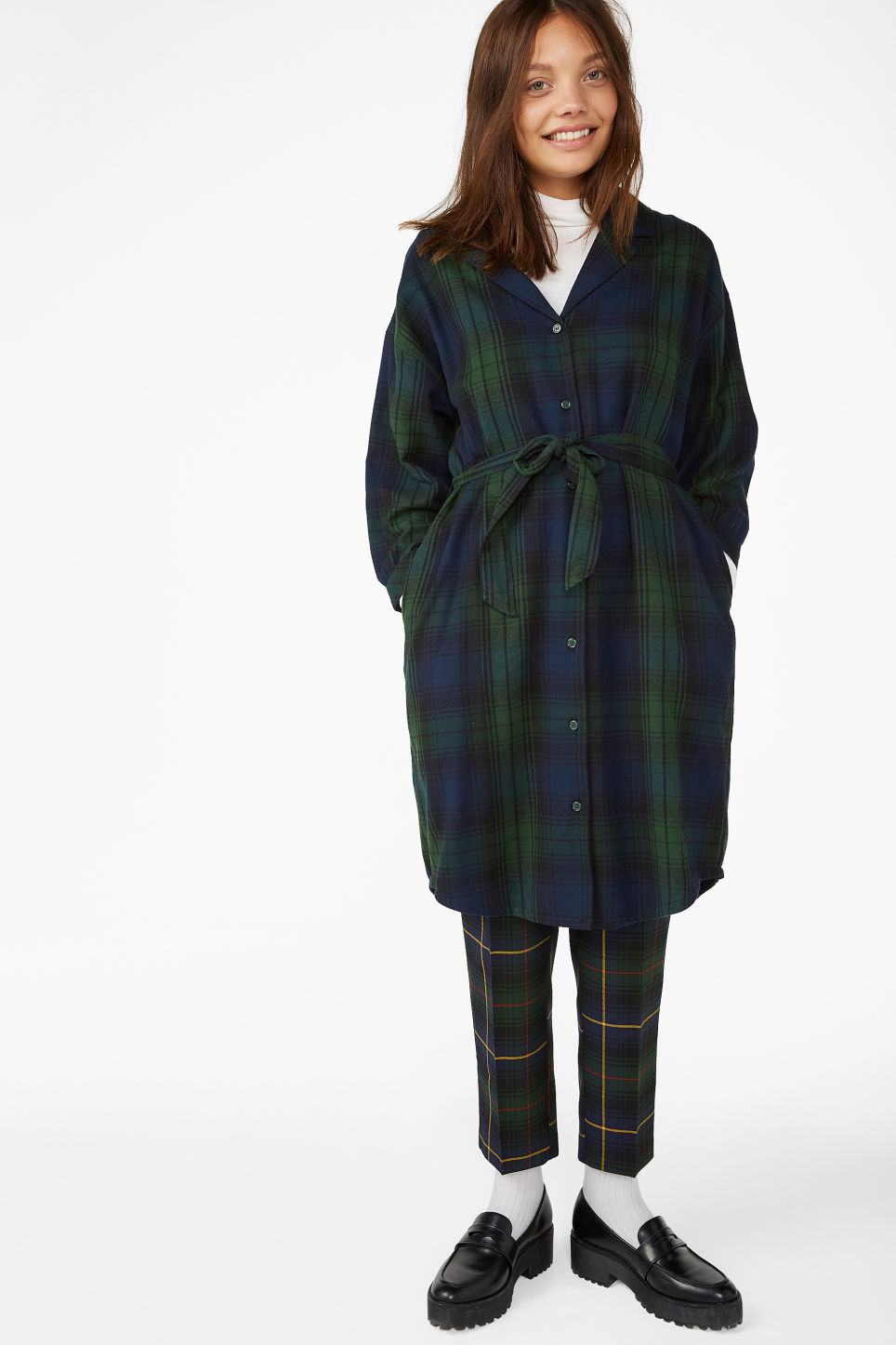 Model front image of Monki flannel shirt dress in green