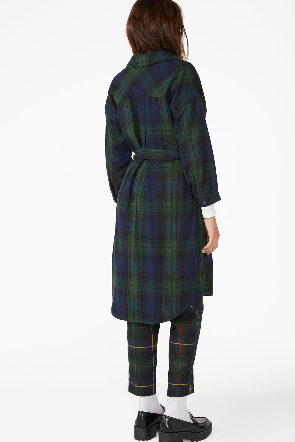 Model back image of Monki flannel shirt dress in green