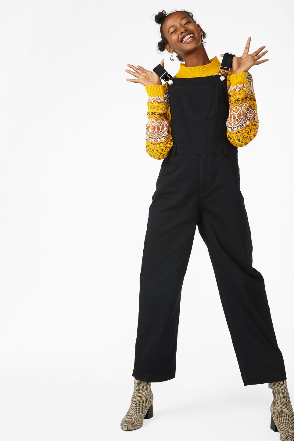 Model front image of Monki classic dungarees in black