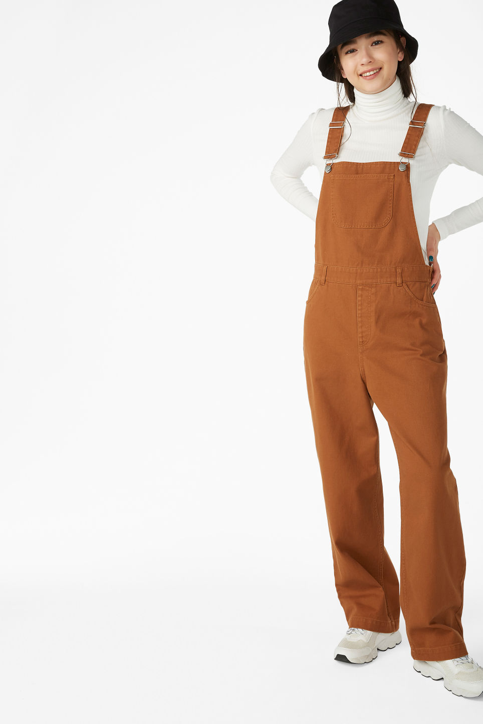 Model front image of Monki classic dungarees in orange