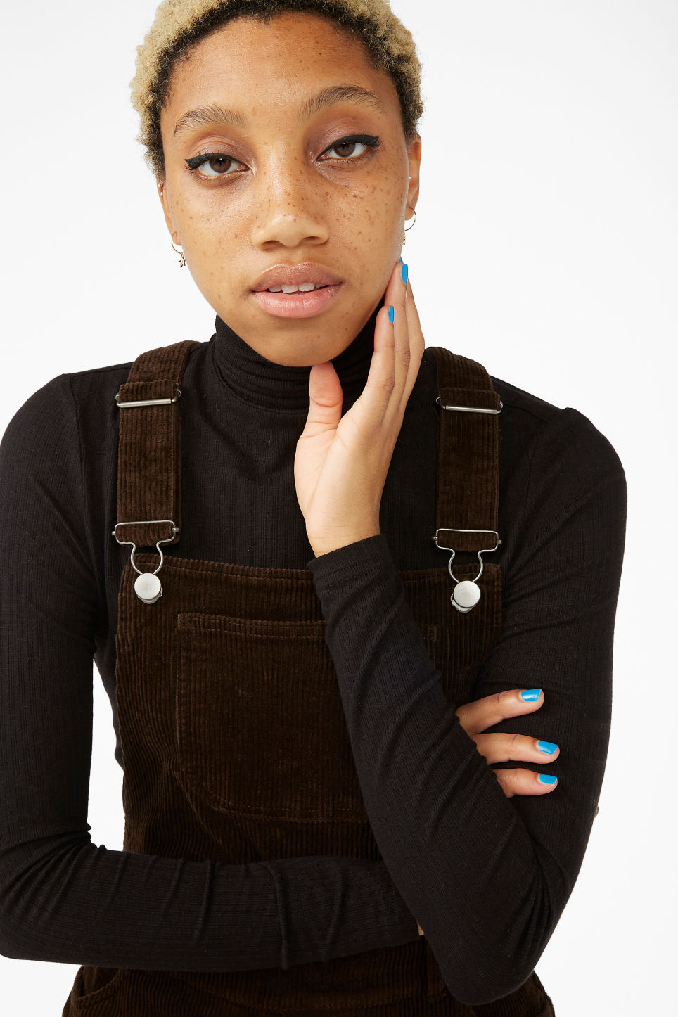 Model front image of Monki classic dungarees in brown