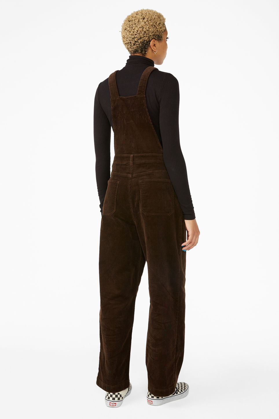 Model back image of Monki classic dungarees in brown