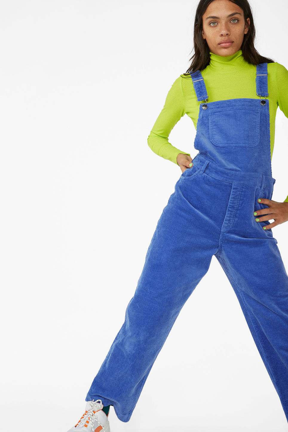 Model front image of Monki classic dungarees in blue